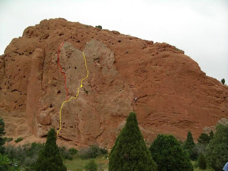 I copied this photo from the South Gateway Rock page and added the yellow line showing the Pipe Route, and the red line showing the second pitch of the Indian Head route.  I hope it helps.