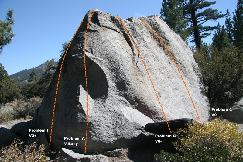 Slab Boulder Topo, North West face
