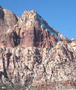 Rock Climbing Photo: The Cactus Flower Tower north face route from the ...