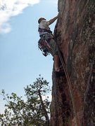Rock Climbing Photo: One pitch below the wooded ledge and headwall.  Th...
