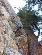 Rock Climbing Photo: The second headwall pitch starts next to an intere...