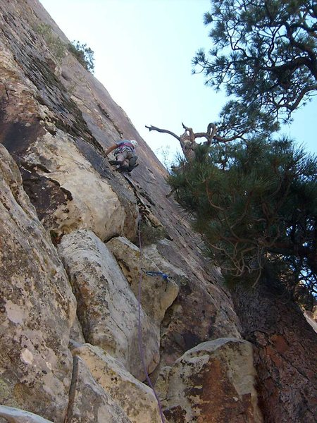 Higher on the second headwall pitch.