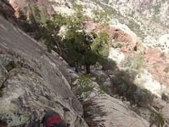 Rock Climbing Photo: Looking down the second headwall pitch/