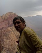 Rock Climbing Photo: On the FRA, a storm caught us just below the top.