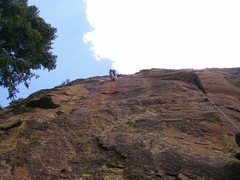 Rock Climbing Photo: Greg leading Sidewinder.