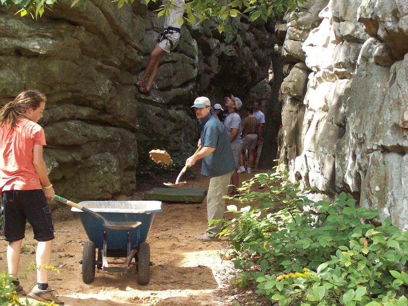 Rock Climbing Photo: Even old guys helped move some sand.