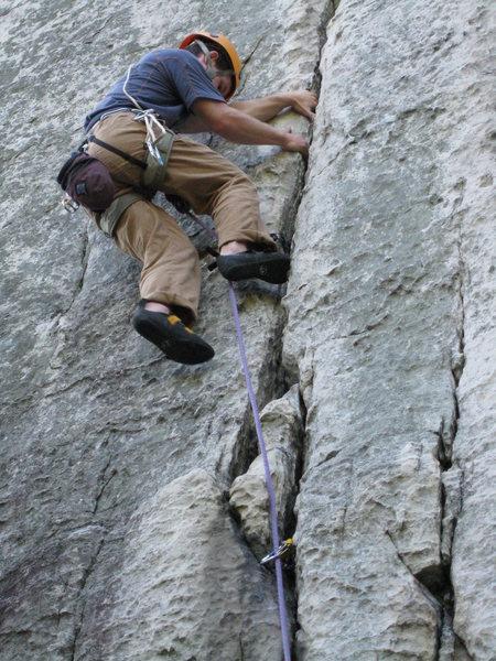 Rock Climbing Photo: The saint, easing up Castor