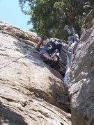 Rock Climbing Photo: Steve on Freefall Cafe.  He started with the direc...