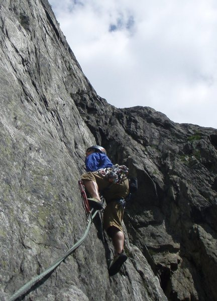 Rock Climbing Photo: Jeff Buhl easing his way up a Swiss slab.  Gneiss!