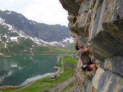 Jeff Buhl cranking up the steep limestone of Melchsee-Frutt.