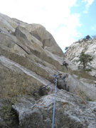 Rock Climbing Photo: Christian Burrell just past the crux on the first ...