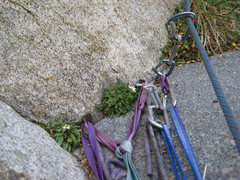 Rock Climbing Photo: The belay at the bottom of pitch 3. The two pitons...
