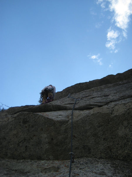 "Me at start of the actual ""hook"" traverse (that I used no hooks on) on the 4th pitch of Stratosphere. When the bolt ladder ran out, I used a red Camalot to get to the traverse."