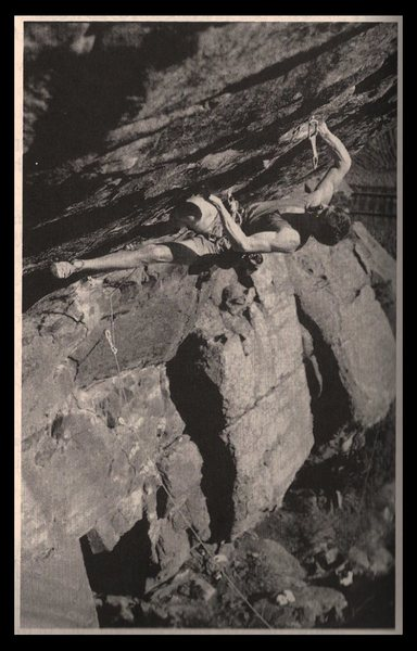 Rock Climbing Photo: Classic Dan Hare photo of George taking a ride on ...