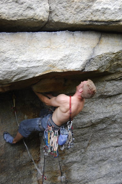 Rock Climbing Photo: Under the roof - the huge undercling. (climber: Da...