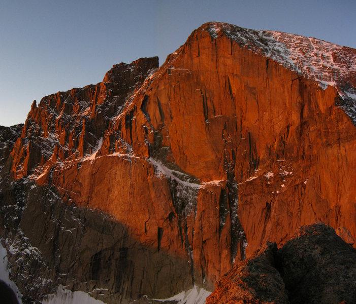 Rock Climbing Photo: The Diamond at sunrise.