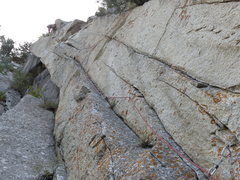 Rock Climbing Photo: Looking up at Pudgy Gumbies from the belay. When y...