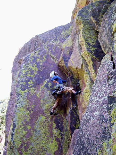 Brian approaching the crux.