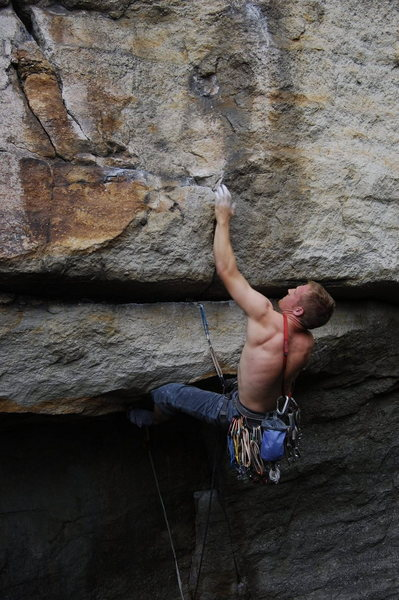 The second move after placing gear. (climber: David Gilbert)