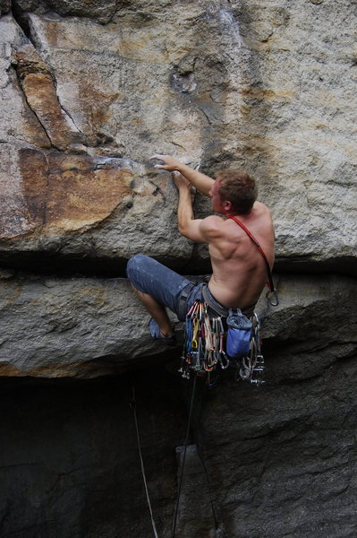 Rock Climbing Photo: Mid crux. (climber: David Gilbert)