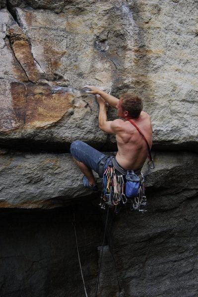 Mid crux. (climber: David Gilbert)
