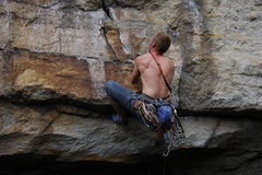 Ready for the final move of the crux. Great onsight Dave!(climber: David Gilbert)
