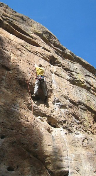 Rock Climbing Photo: Me approaching the crux moves on Bozo No No.