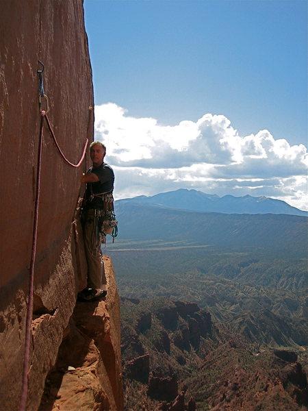 Rock Climbing Photo: Neli doin' the foot traverse- P2