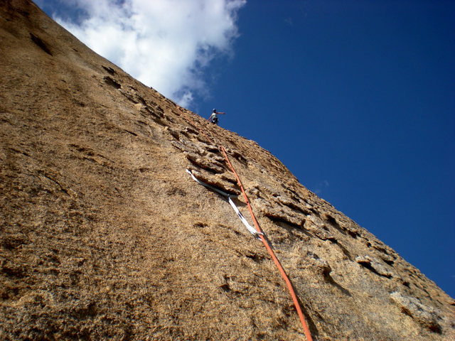 Rock Climbing Photo: chickenhead belay at top of P2