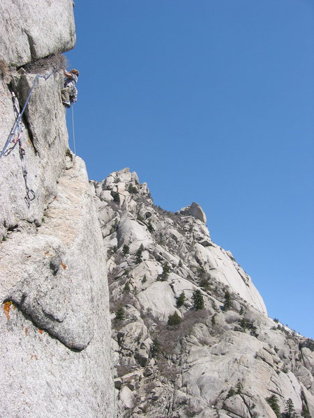 Ben leading on pitch 3 of The Gills during the establishment of the route in April of 2005.