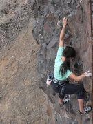 Rock Climbing Photo: cynthia teasing the grade...