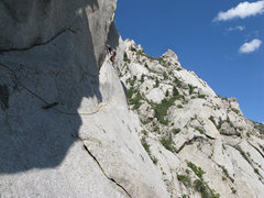 Rock Climbing Photo: Lance on pitch 2 of The Gills, with the summit pin...
