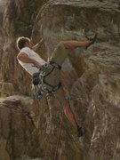 Rock Climbing Photo: clipping at the crux.  i always throw a hook whene...
