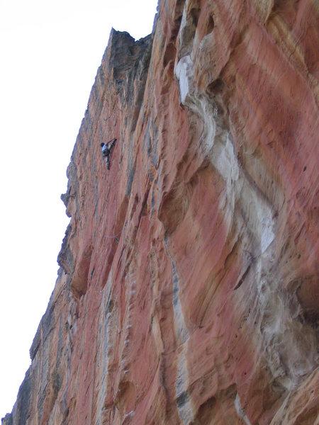 Rock Climbing Photo: Climber on the upper headwall of Serpentine