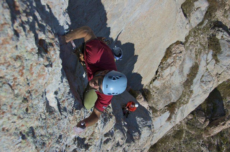 Climbing the crux pitch