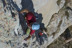 Rock Climbing Photo: Climbing the crux pitch