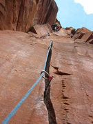 Rock Climbing Photo: me leading my first sand stone crack.
