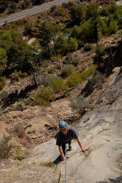 Patty Fienup nears the top of Footprints in the Central Gully of the Fortress.