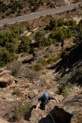 Rock Climbing Photo: Patty Fienup climbs through blocks near the top of...
