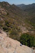 """Rock Climbing Photo: A look down the first pitch of """"Head Wound&qu..."""