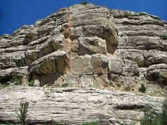 Rock Climbing Photo: Red line is the route. Badly drawn X's are the bel...