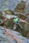 Rock Climbing Photo: Elmo moving thru the crux moves during First Free ...