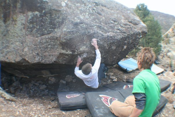 Rock Climbing Photo: Beck on a V4, #3 on the Ice Age Boulder, near R2D2...