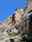 Rock Climbing Photo: What a motley crew. Six person seige on 'three roc...