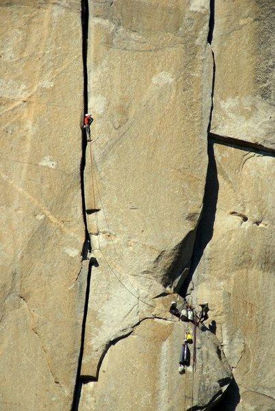 Rock Climbing Photo: The monster offwidth. Tom Evans Photo