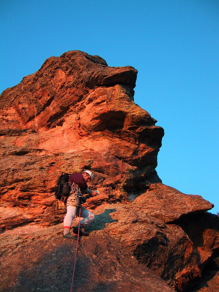 Rock Climbing Photo: Mark consults the guidebook in the middle of the f...