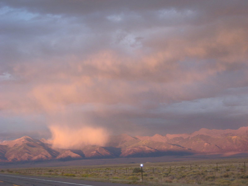 Evening t-storm spattering the Sangre de Cristos in the San Luis Valley.