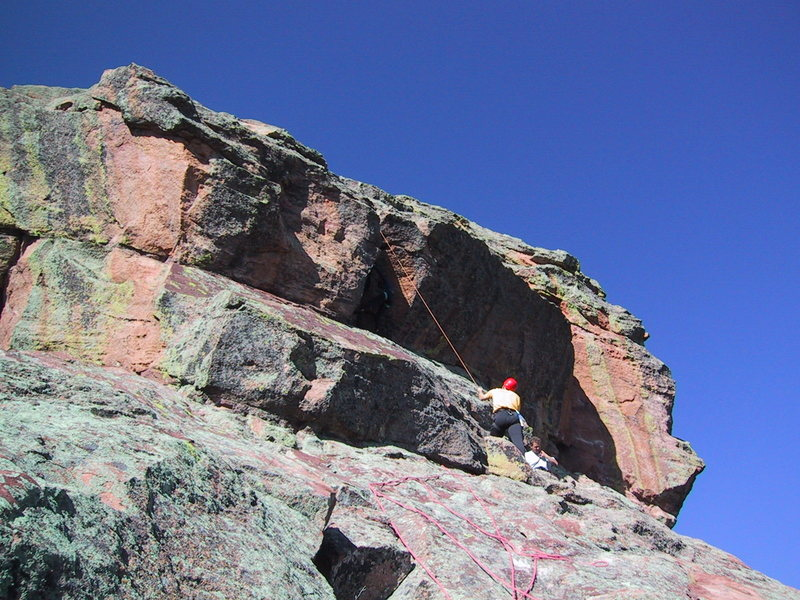 Rock Climbing Photo: The line of the rope shows the route.  Lori is at ...