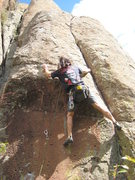 Rock Climbing Photo: Just through the crux (after dogging!).  Hard pock...