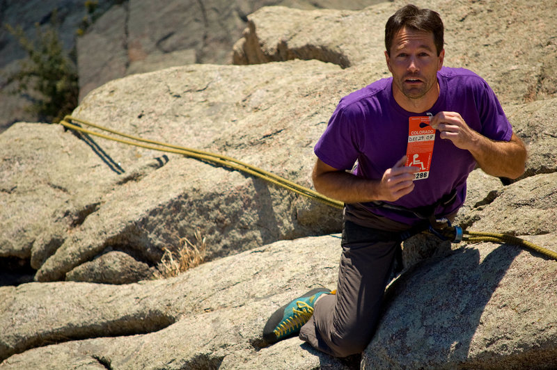 Rock Climbing Photo: Tony hopes the Umph Slot will show him mercy...